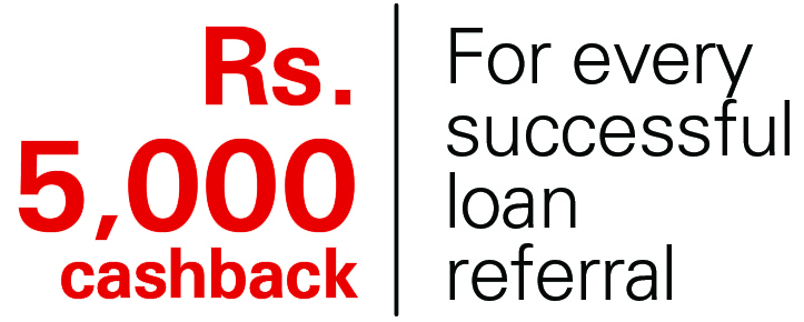 Rs. 5000 cashback for every successful loan referral; image used for HSBC Sri Lanka Loan Referral Page