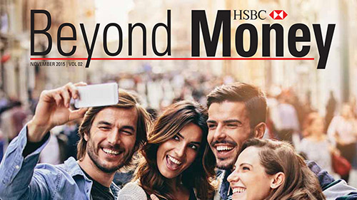 Beyond Money Magazine cover with a group of young people; image used for HSBC Premier Beyond Money Magazine Landing Page