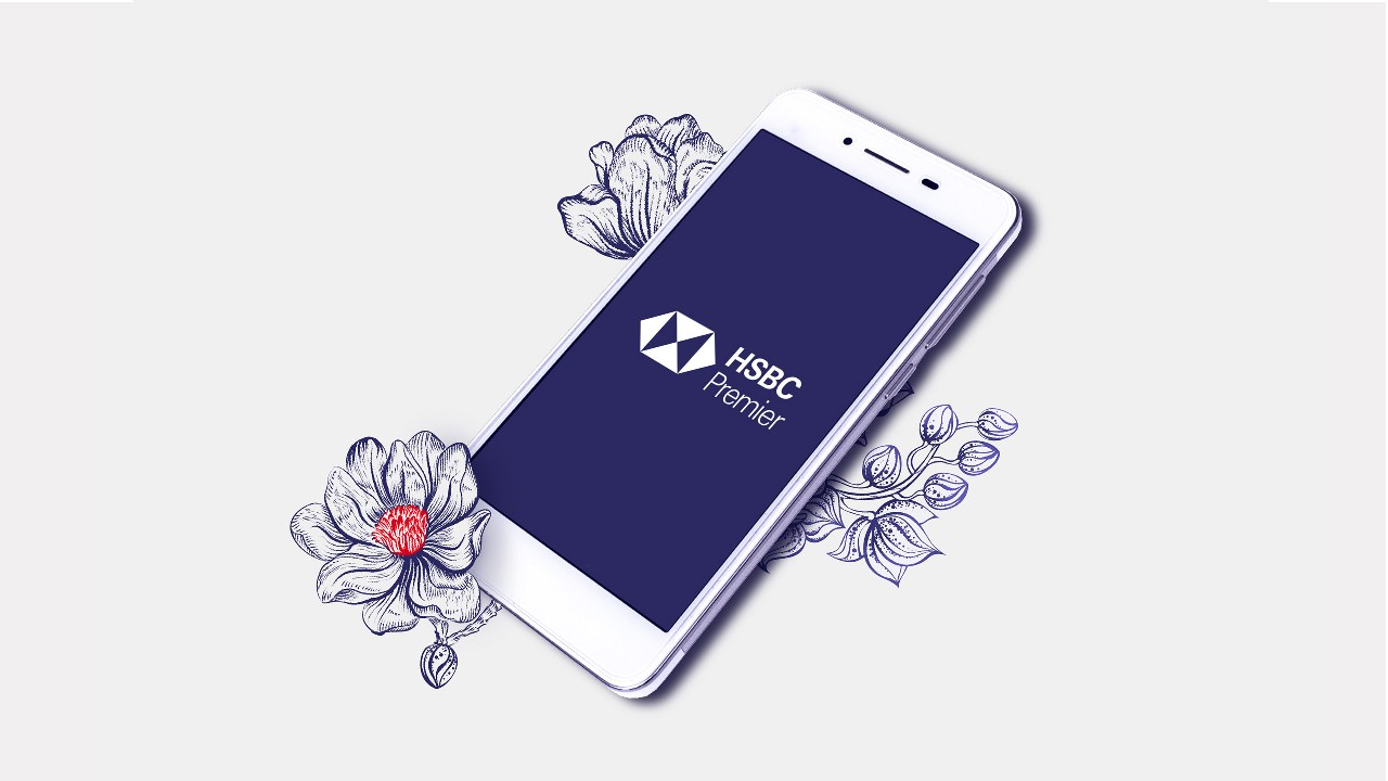 a mobile phone with HSBC logo; image used for HSBC Premier banking in your pocket page