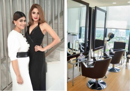 two beautiful women standing together and the salon view
