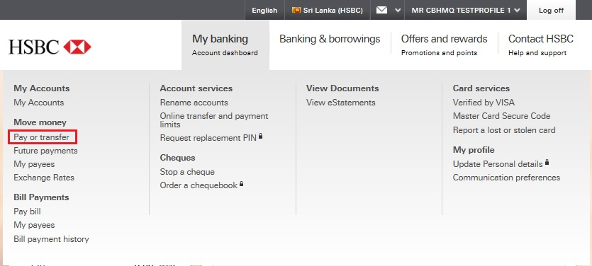 online banking bill payment step 2