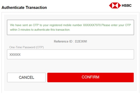 Authenticate transaction screen