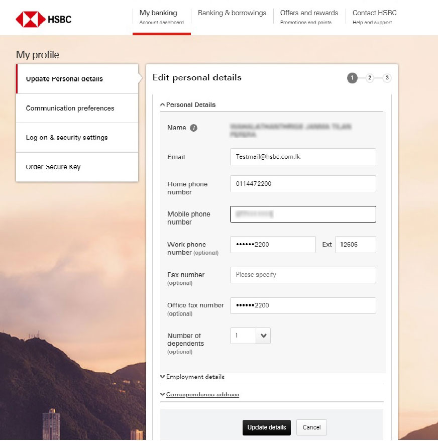 Edit personal details screen; image used for HSBC one-time password ways to bank page.