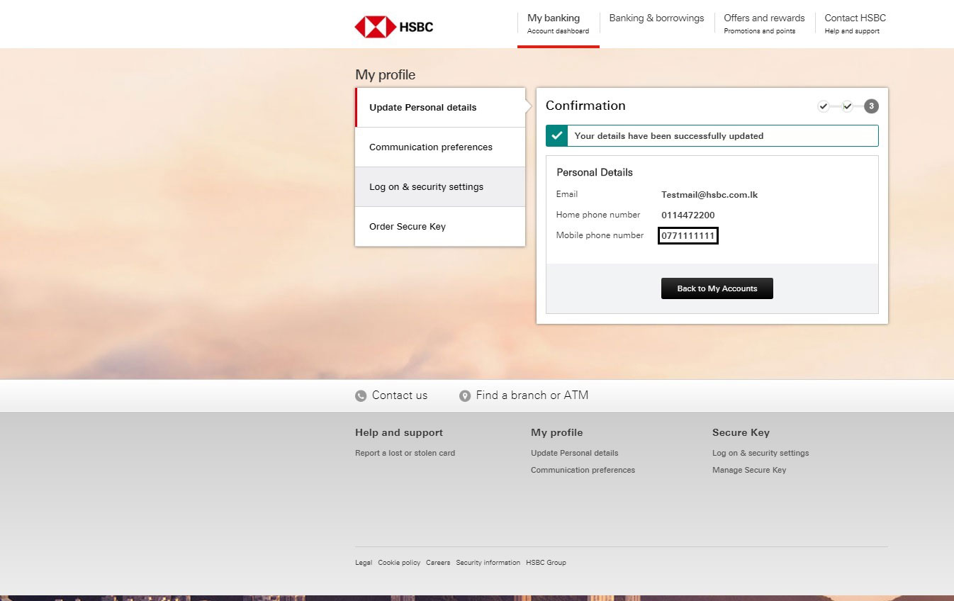 Confirmation for update personal details screen; image used for HSBC one-time password ways to bank page.